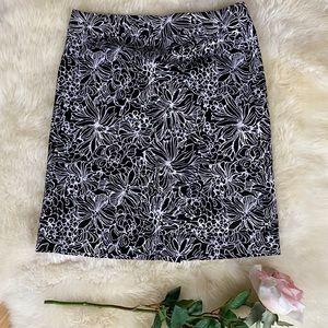Talbots black and white floral skirt